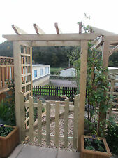 Robust Wooden Timber Garden Arch Entrance with gate and trellis sides - NEW