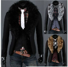 New Men's Stylish Slim 2 Buttons Fur Collar Coat Suit Blazer Jackets Outerwear