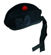 Scottish Glengarry Wool Hat Kilts Plain Black With Red Pompom All Sizes