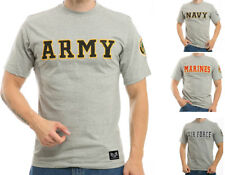 Official US Military Army Navy Air Force Marines Cotton Applique Logo T-Shirts