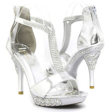 Silver Rhinestone Bling Strappy Evening Prom Wedding Party High Heel Sandal Shoe
