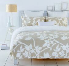 New In 2 Linen MADISON TAUPE Leaf Design Quilt / Doona Cover Set  250TC  Percale