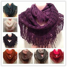 Stylish Women Winter Warm Fringe Infinity Scarf Two Circle Neck Long Shawl Color