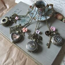 """""""JUST A MATTER OF TIME"""" Pocket Watch Necklaces with Rose, Swallow Birds & Key"""