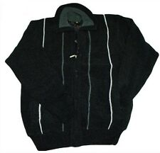 Heavy Weight Black Chunky Knit Zip Front Pockets Chenille Warm Cardigan Jumper