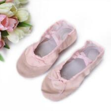 PINK CANVAS LEATHER BALLET DANCE SHOES SPLIT SOLE SLIPPER FITS TODDLER TO ADULT