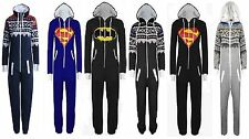 MENS LADIES UNISEX HOODED BATMAN SUPERMAN AZTEC ONESIE JUMPSUIT SIZES S TO XXL
