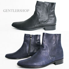 Mens Fashion Shoes Ankle High Leather Boots Handmade 5132 - 2 Colors,GENTLERSHOP