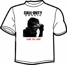 CALL OF DUTY GHOST PERSONALISED GAME TAG WHITE T SHIRT MENS LADIES  (Profile)