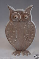 Shabby Chic Wooden Carved Owl Ornaments Set Of 3  White Washed