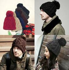 Fashion Unisex Chunky FRBT Knit Winter Warm Woolly Bobble Beanie Ski Hat Cap