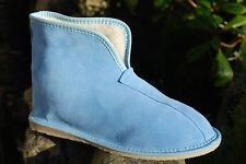 Womens Mens 100% Pure Sheepskin Suede Blue Slippers Boots Sheep wool  HARD SOLE