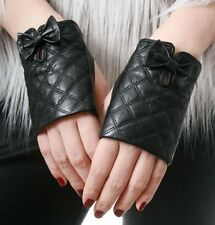 Genuine Lamb Quilted Leather Fingerless Bow Tie Knot Punk Party Wrist Lady Glove