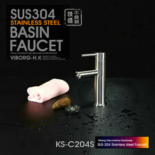 304 Stainless Steel Bathroom Basin&Vessel Sink Faucet Mixer Tap SATIN NICKEL