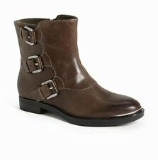 ENZO ANGIOLINI NINE WEST ELLIOT DARK TAUPE ANKLE BOOT LEATHER MOTORCYCLE BUCKLE