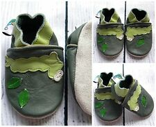 Baby Boy Leather Soft Sole Shoes Green Caterpillar Gift First Walkers