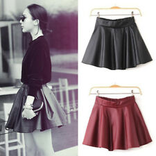 Flared Short Womens Black Red Faux Leather Mini Skirt High Waist Pleated Skater