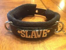 Custom leather collar soft fleece covering ANY WORD w/leash & under bed strap