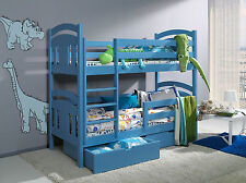 New bunk beds + 2x spring mattresses wooden childrens with drawers solid pine