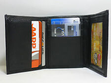 New Mens Trifold Genuine Leather ID Wallet Credit Card Slots Multi Pocket # 64