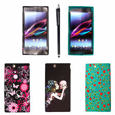For Sony Xperia Z Ultra Printed Silicone Gel Back Protective Case Cover + Stylus