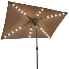 10'x6.5' SOLAR UMBRELLA 26 LED LIGHTS POWERED  PATIO OUTDOOR RECTANGLE SUNSHADE