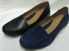 Ladies Clarks Gilded Opal Black or Blue Leather Moccasin D Fitting