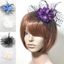 lady wedding fascinator feather lace hair clip flower accessory brooch handmade