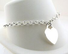"""Heart Charm Bracelet, Sterling Silver, 7.25"""", Engrave Up to 6 Letters, NEW"""