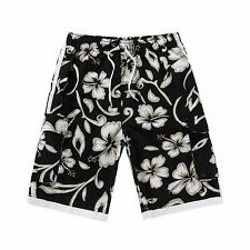 Men Board Shorts Swimwear Adjustable Waist Side Pocket Swim Trunk Black Green