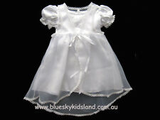 Baby Girls Christening Gown /Baptism Satin with Chiffon + Bonnet sz 0000-1 WHITE
