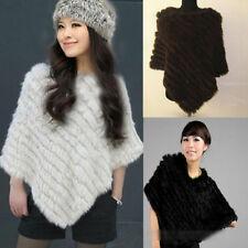 Retro Grey Knitted Real Rabbit Fur Scarf Wrap Shawl Vest Cape Poncho Gilet Tops