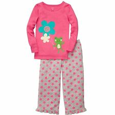 Carters Kids Infant Toddler Girls 2PC Pajama Sleepwear Long Sleeve Frog Dots Set