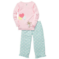 Carters Kids Infant Toddler Girls 2PC Pajama Sleepwear Long Sleeve Balloon Mouse
