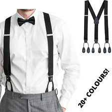 Men's Adjustable SUSPENDERS Braces Clip On Elastic Y-Back Slim Traditional Style