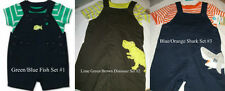 * NWT NEW BOYS 2PC CARTERS Shark DINOSAUR SUMMER Shortalls OUTFIT SET 3M 9M 24M