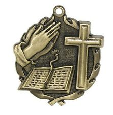 Religion Cross Award Medal  Neck Ribbon & Personalization Included