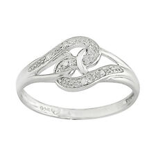 925 Sterling Silver 2.4pt Diamond S Shaped Knot Design Ring Moonlit Collection