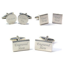 Engraved Cufflinks, Cuff Links with Personalised Gift Box