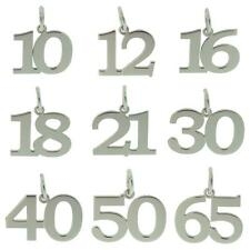 925 STERLING SILVER BIRTHDAY NUMBER AGE CHARM PENDANT GIFT 10-70