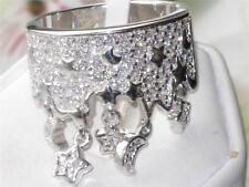 M8X015pb  STARS & MOON CHARM CROWN RING  PAVE SIMULATED DIAMOND RING WOMENS OPEN