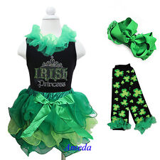 Girls St Patricks Day Green Tutu IRISH Princess Black Tank Top 4pc Party Dress