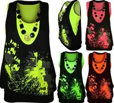 WOMENS LADIES NEON NECKLACE GLITTER SPLASH PRINT SLEEVELESS FLUORESCENT TOP