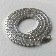 "Italian Sterling Silver 3.1mm Diamond Cut Box Chain Necklace Lengths 16"" to 24"""