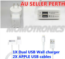 Dual USB AC Wall Charger Adaptor and Cable for iPhone 4 4s 5 5s 5c iPad Mini Air