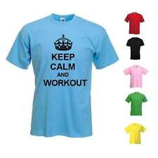 NEW KIDS WOMANS MENS KEEP CALM AND WORKOUT EXERCISE FIT FITNESS HEALTHY T-SHIRT