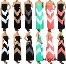 N21 NEW Sexy Bustline Chevron Color Blocked Jersey Knit Long Maxi Dress Quality