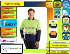 SW21A High Visibility Safety Workwear Long Sleeve Polo Shirt 60% Cotton 3M Tape