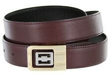 Leather Dress Belt, Burgundy with Nickel & Gold Plated Channel Buckle