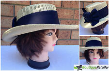 Ladies STRAW HAT Beach Sun Summer Womens MADE IN USA Trilby Fedora Panama Cap